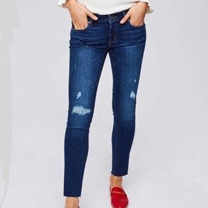 Loft Modern Skinny Distressed Jeans With Raw Hem